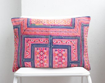 Chinese wedding blanket Bohemian Floral Textile Silk Embroidered Ethnic Made Chinese miao Tradition Costume Pillow Case