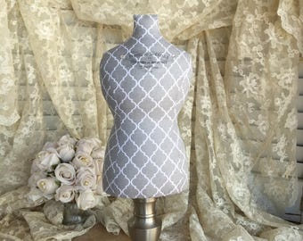 Necklace Display, Mannequin Dress Form, Jewelry Stand,  Fabric Bust, Pincushion, Centerpiece, Jewelry Organizer, Wedding Display, Gray