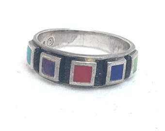 Southwest Style Sterling Silver Ring, Colorful Stone Multi Color Southwest Ring, Red Turquoise Purple and Green Square Stone Band Ring 925