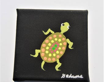 Hand painted Turtle on Black Canvas