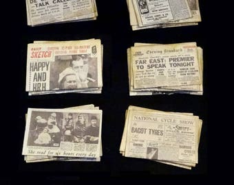 Vintage Miniature Newspapers - 1-12 scale - choose one stack