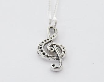 Treble Clef Necklace, Music Necklace, Silver Treble Clef Necklace, Music Lover Gift, Treble Clef Jewelry, Music Teacher Gift, Music Pendant