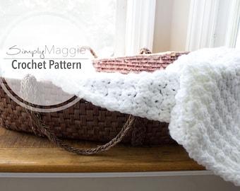 "Crochet Pattern // Suzette Stitch Receiving Blanket // Baby Blanket // Beginner's Pattern // 40"" by 40"" // Simply Maggie"