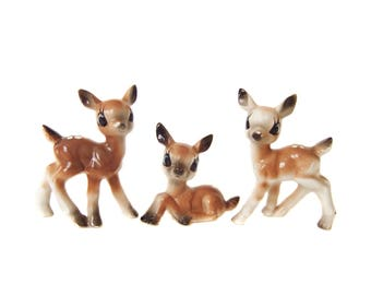 Baby Deer Figurines, Christmas Deer Set, Vintage Deer Photo Prop, Deer Herd, Porcelain Bambi Doe Figurine, Woodland Fawn Deer Room Decor