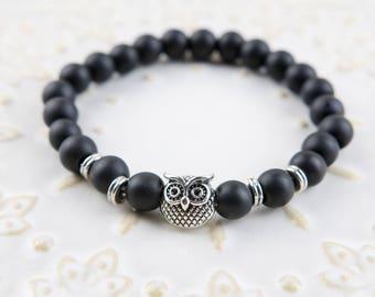 Silver Owl & Matt black stones beaded Bracelet 8mm beads