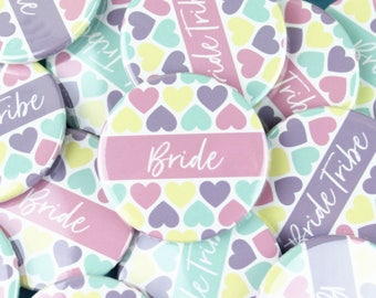 Bride Tribe Badges, Bride badge, Pretty Hen Party Accessory, Hen Do Badge