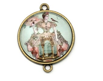 1 lady with bird cage glass pendant connector bronze tone,30mm # CON 162