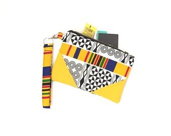 Kente clutch wristlet, wristlet clutch, wristlet, zip clutch wallet, zip clutch, clutch purse, evening bag, clutch purses for women