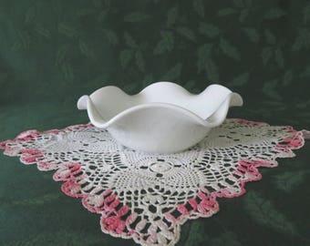 Milk Glass Bowl with Ruffled Rim