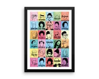 FRAMED Fame Pop Song Illustration, Music Art Print, Pop Art Poster, Song Lyrics Art, Minimalist Portrait Illustration, Minimal Design