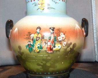 INTERESTING Asian Double Handled Vase Czechoslovakia Marked -- Hand Painted --