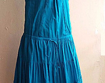 Summer Cotton Dress - Blue Turquoise Holiday Beach Dress - Small