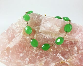 Apple Green Chalcedony Bracelet, gemstone beaded bracelet, gold, multistone