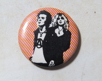 """Vintage Sid Vicious and Nancy Pin Back Button- Sid and Nancy 1"""" badge/button"""
