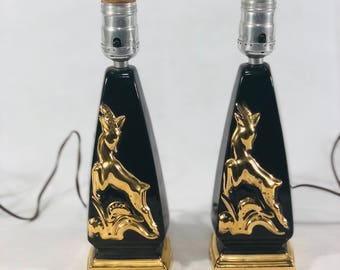 Mid-Century Deer Lamp Pair, Black and Gold