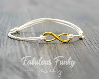 Infinity bracelet - cream / gold