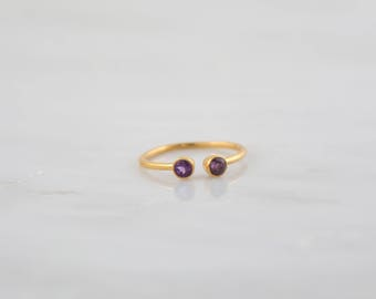 February Birthstone ring, Amethyst ring, Purple Amethyst ring, Gold Gemstone ring, Bezel set ring, Adjustable ring, Minimalist ring