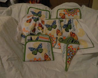 5 piece butterfly hanging kitchen towel set