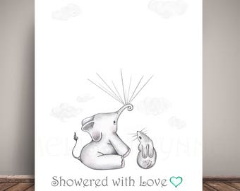 INSTANT Download   Elephant Baby Shower Book Guest Alternative, Showered  With Love (Mint Heart