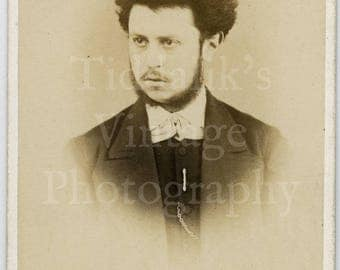 CDV Carte de Visite Photo Victorian Young  Bearded Man with Wild Hair Portrait by Mr. Louis Manager of London England - Antique Photograph