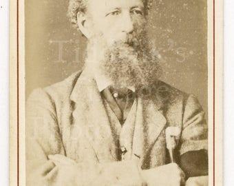 CDV Photo Victorian Bearded Man Portrait with Black Arm Band Portrait - Moffat of Edinburgh Scotland - Carte de Visite Antique Photograph