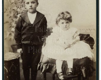 Cabinet Card Photo Victorian Little Boy & Girl, Brother Sister, Children in Smart Outfits Portrait - Liverpool England - Antique Photograph