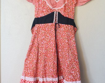 vintage red liberty floral & gingham corset mini dress small *