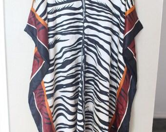 vintage beaded african zebra safari animal print tunic caftan dress