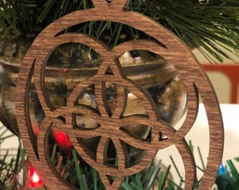 12 Days of Christmas Five Golden Rings Wooden Ornament