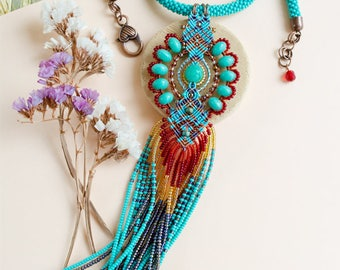 RESERVED for Chris - Tribal necklace, fringe, micro-macrame jewelry, bead crochet rope, statement, bohemian, boho chic, long tassel, quartz