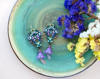 Lucite flowers, macrame beaded earrings, elegant, boho chic, beaded, long, dangle, micro-macrame jewelry, beadwork, floral, teal mint lilac