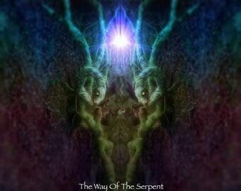Serpent mythology photo art print canvas, darker arts canvas wall decor, limited edition print on canvas