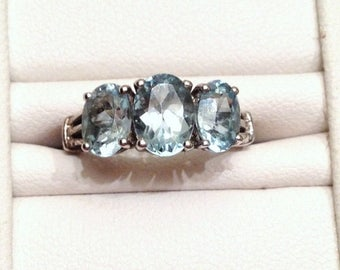 ON SALE - Sky Blue Topaz Three Stone Ring - Sterling Silver Size 6