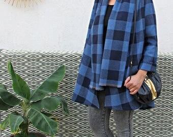 Blue wool Plaid jacket
