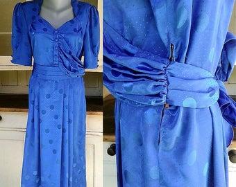 L  40s Silk Rayon Dress/ WWII War Era  Dress/ Silk Dress