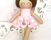 Ballerina Doll- Pink- Handmade Doll, Dance Ballerina Doll