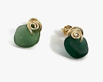 Teal Sea Glass Stud Earrings, 14K Gold Filled Metalwork Earrings, English Beach Glass Jewelry