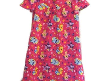 Nightgown, My Little Pony Nightgown, Long Cotton Nightgown, Bright Pink, Size 2
