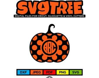 Pumpkin SVG Halloween SVG Pumpkin Monogram SVG Polka Dot svg Cricut Files Silhouette Files Digital Files Halloween Clipart Halloween Decor