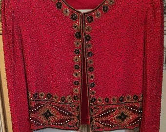 Free Christmas/New Years Shipping Vintage Laurence Kazar Beaded Jacket Size L