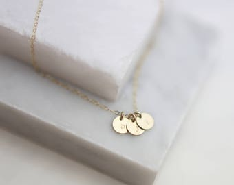 Personalized Mini Disc Tag Initial Necklace // Monogram & Name Necklace // Dainty Custom Engraved //  EP004