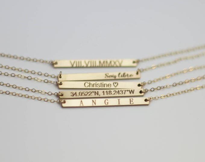 Personalized Skinny Name Bar necklace - Dainty Bar Necklace Gold filled and Sterling silver . Gifts for her