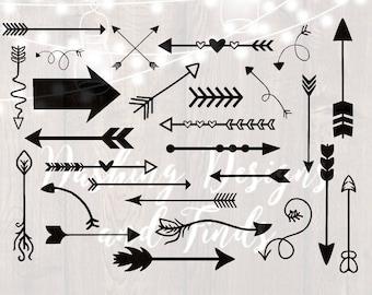 DIGITAL DOWNLOAD arrow clipart - arrows svg - png files - heart arrow svg - tribal arrow - arrow with feather - arrow with heart - cut files