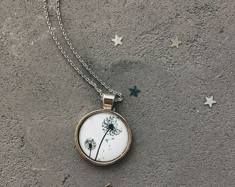 Lovely necklace with dandelions, black and white flowers pendant by CuteBirdie