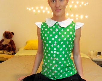 Polka dot peter pan collar blouse size small