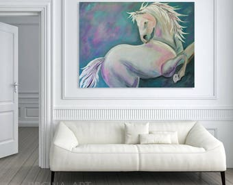 Large Abstract Painting Original Blue Painting, White Horse Abstract Canvas Art, Abstract Modern Wall Art, Blue Gray White Home Decor