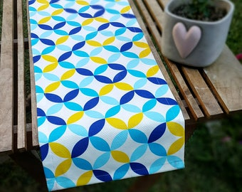 Navy Aqua Blue Yellow GEOMETRIC Table Runner, Premium Cotton table runner, Water Resistant Stain Resistant Runner, Table Cloth,