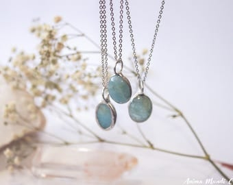Aquamarine necklace, Aquamarine pendant, Dainty Silver aquamarine jewelry, Unique gift for mother day, Gift for sister, March birthstone
