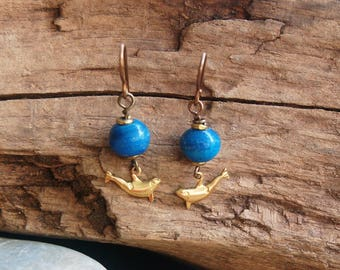 DONATION!!!  Tiny Brass Orca and Blue Dyed Mexican Alabaster Dangle Pierced Earrings