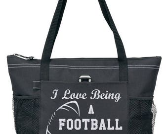 Football Mom Tote with Silver glitter design. FAST and FREE Shipping
